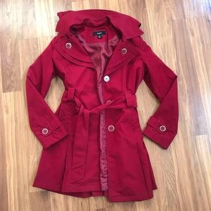 Red Polyester Trench Coat with Detachable Hood